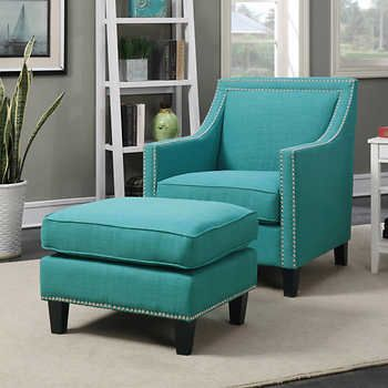 Teal Accent Chair Foldable Office Emery With Ottoman Living Room Ideas In 2019