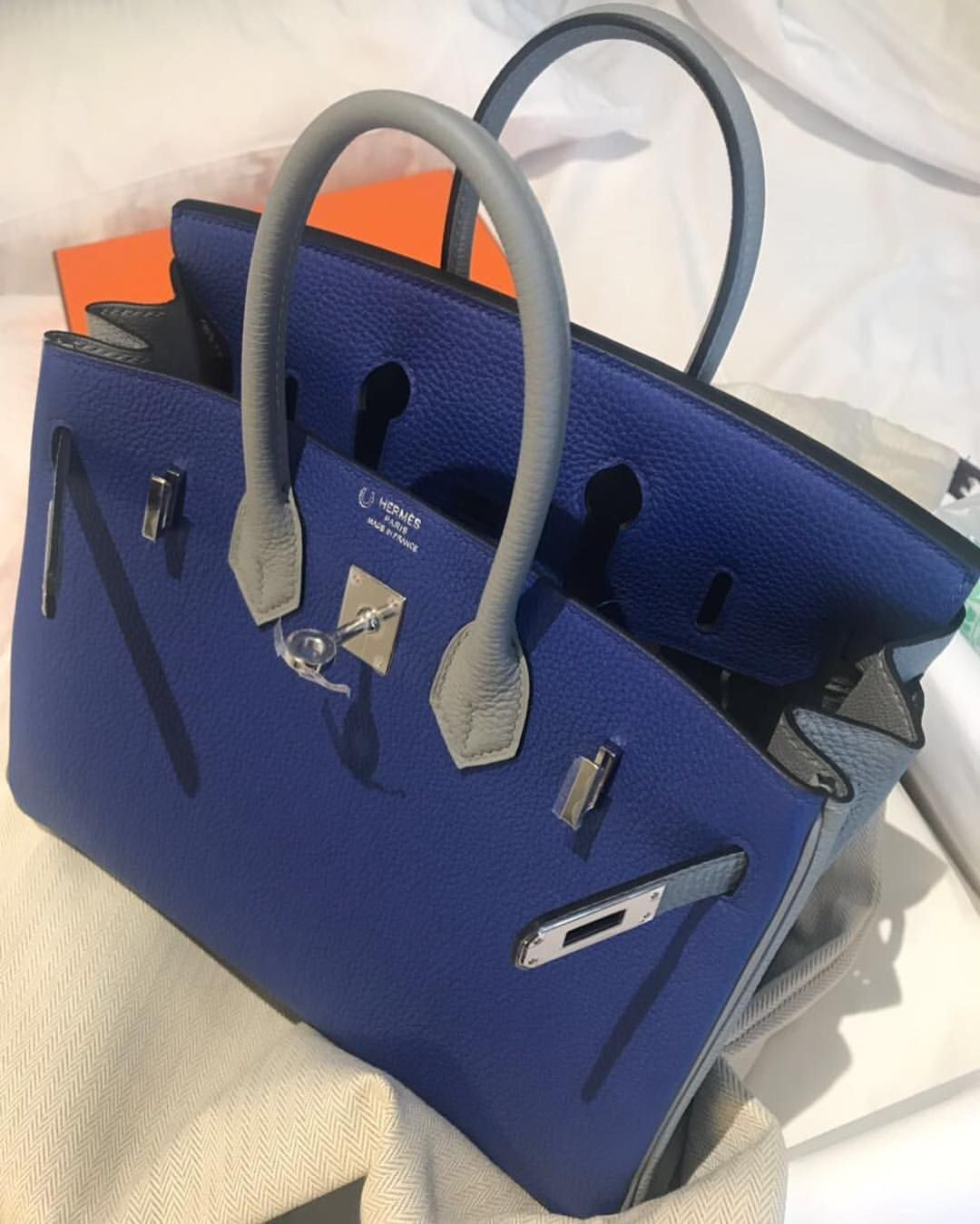 557b2082f998 Brand New Birkin25 HSS Blue Electric   Gris Mouette Togo Phw A ...