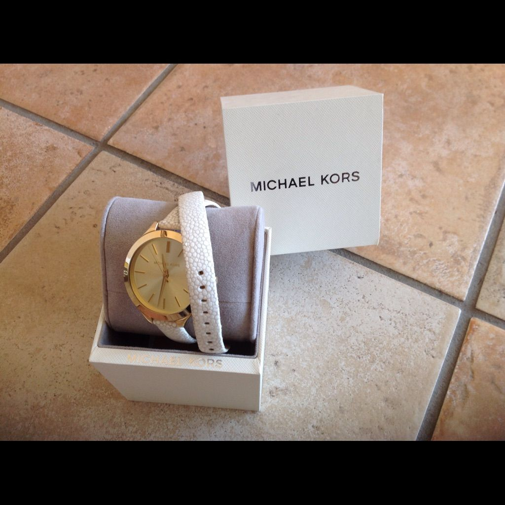 New Michael Kors Women'S Leather White Watch Nwt