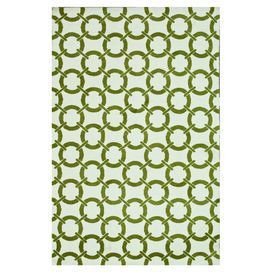 Rug with links motif in ivory and peridot.  Product: RugConstruction Material: 100% PolyesterColor: Ivory and peridotFeatures: Machine-made Dimensions: 5 x 76Note: Please be aware that actual colors may vary from those shown on your screen. Accent rugs may also not show the entire pattern that the corresponding area rugs have.