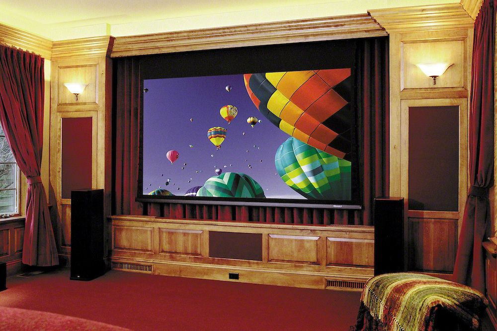 Home theater with massive motorized projector screen and for Motorized home theater screen