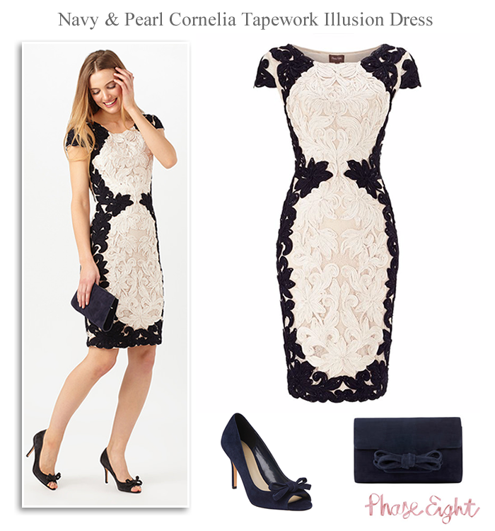 82c345ea90c Phase Eight wedding guest outfits. Navy and pearl cornelia tapework  illusion style dress. Navy peep toe shoes matching clutch with optional  chain strap.