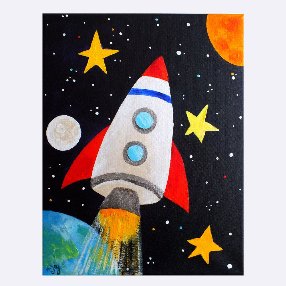 Space art for kids rocket blast off no 2 11x14 for Canvas art ideas for kids