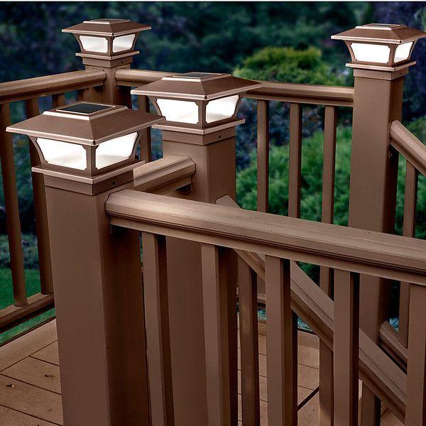 Solar post cap lights set of 2 brown 40 pab ❤ liked on