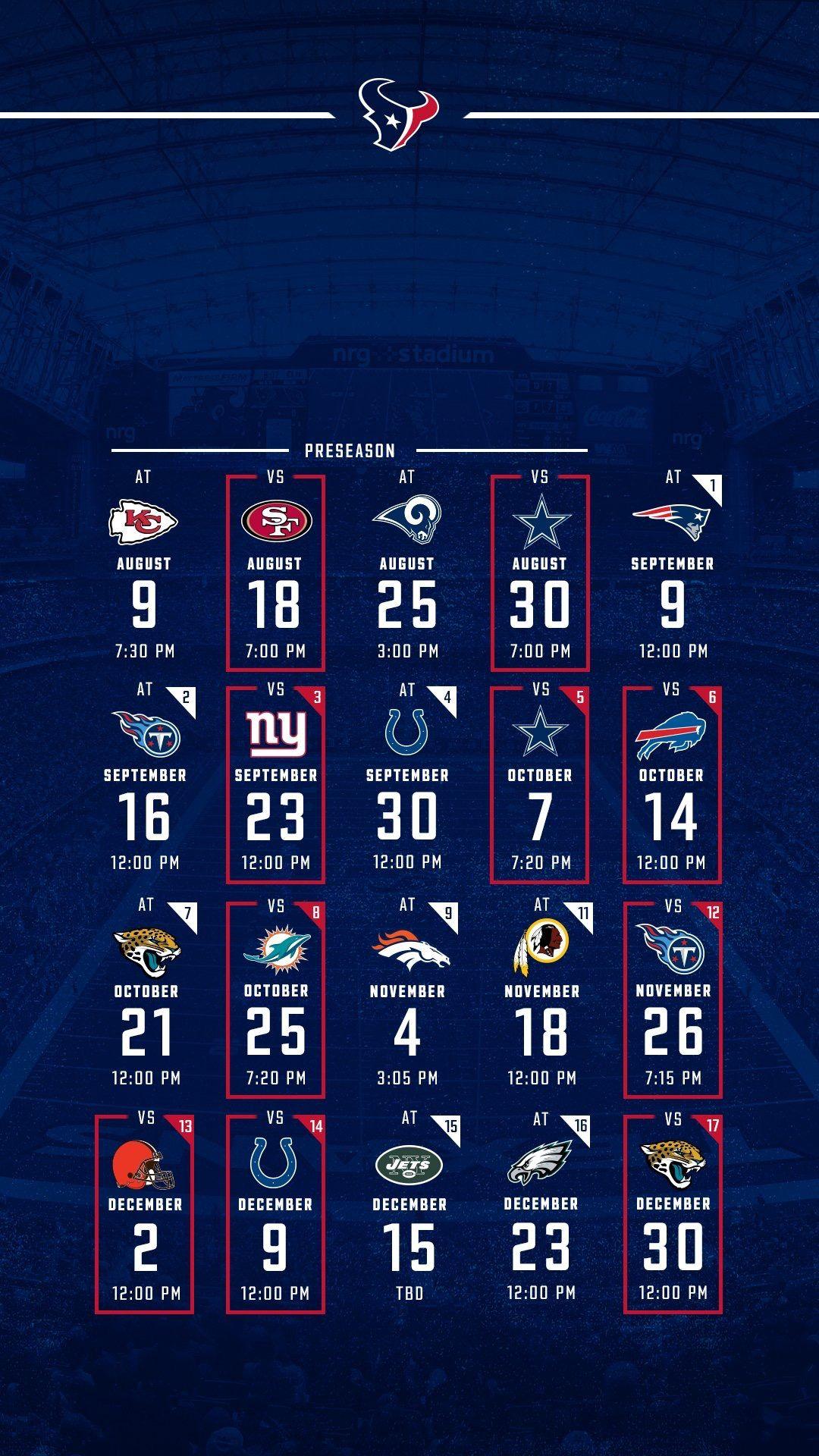 2018 Schedule Houston texans football, Texans football