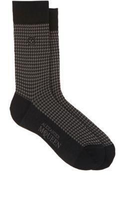 ALEXANDER MCQUEEN Houndstooth Cotton-Blend Mid-Calf Socks. #alexandermcqueen #socks