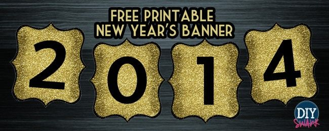 happy new year banner free printable