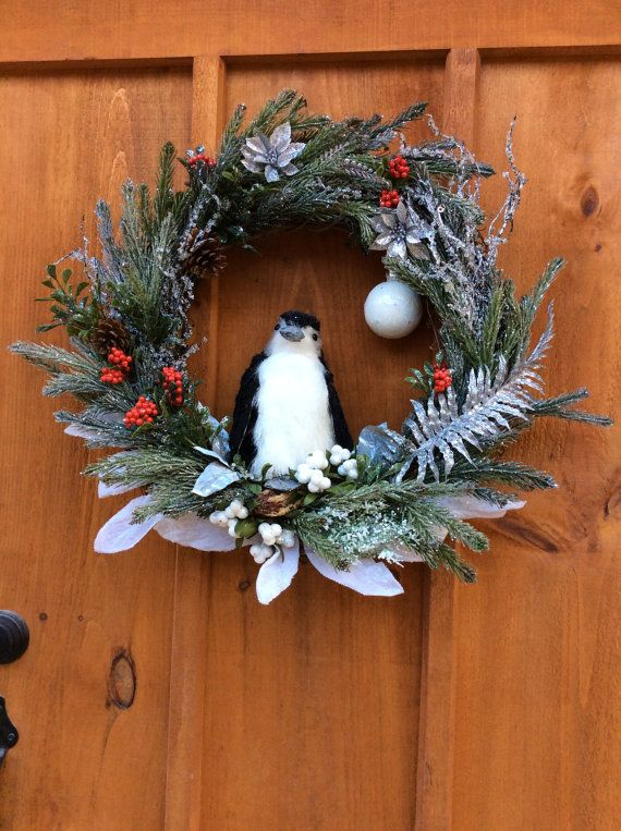 Penguin Christmas Wreath, Winter, Grapevine Wreath, Wildlife, Seasonal  Wreath, Front Door