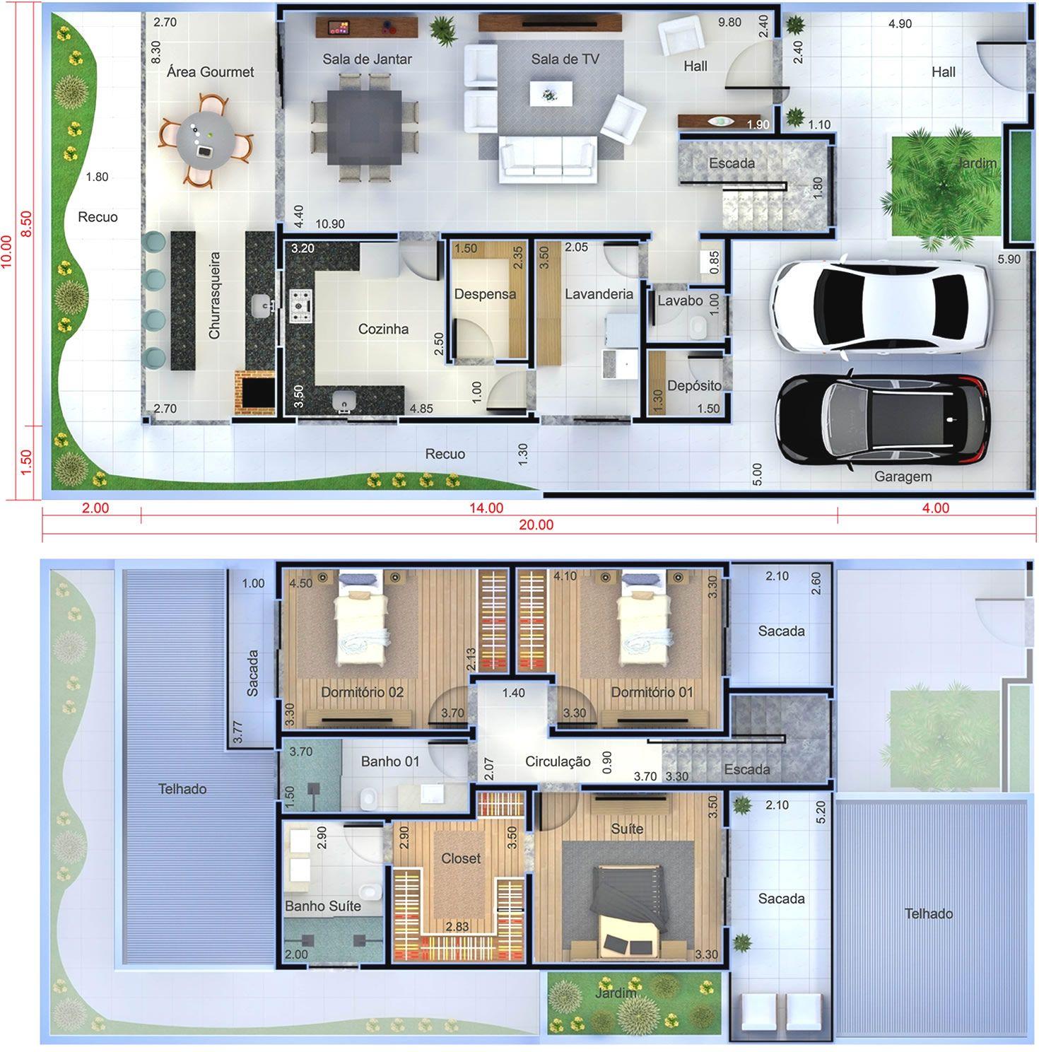 Planta de sobrado moderno com 3 quartos Planta para terreno 10×20 ideias plantas casas