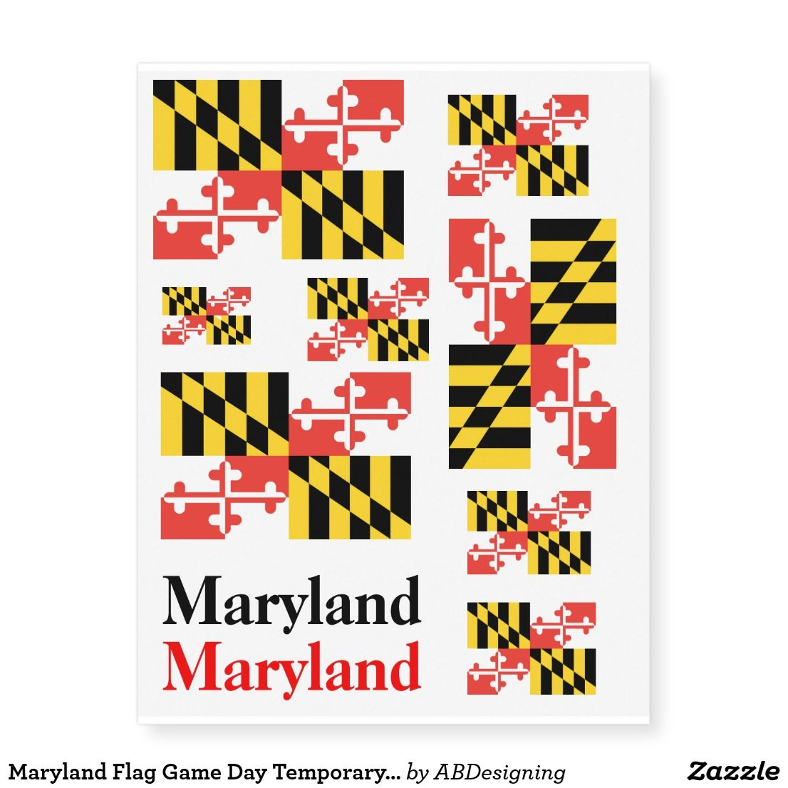 Maryland Flag Game Day Temporary Tattoos