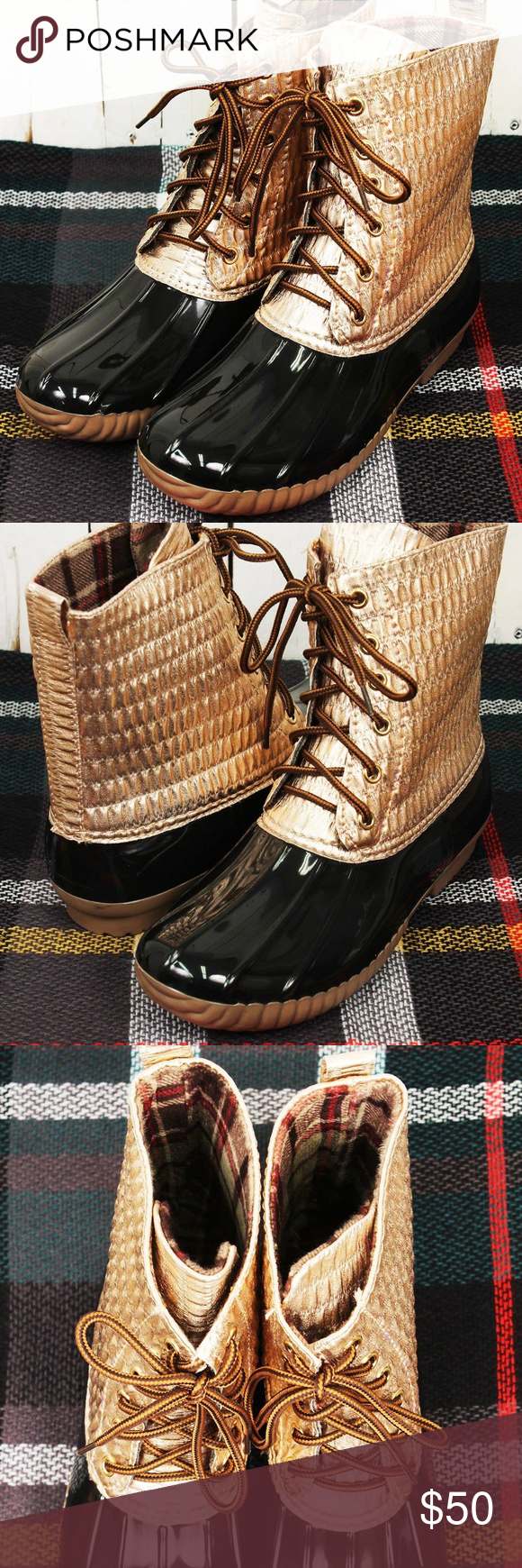 acd9ac2ab348 Yoki Rose Gold Metallic duck Boots (RUNS SMALL)  New Boutique Item  When  the weather is bad