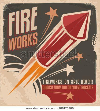 Vintage fireworks poster design. Retro flyer design for fireworks ...