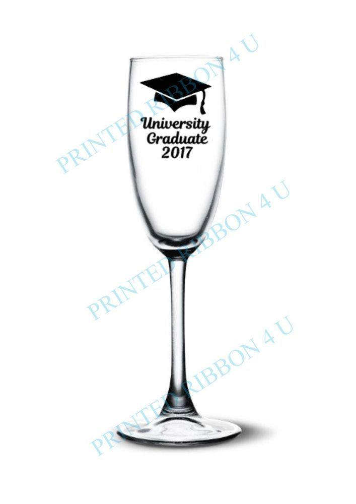 1 university graduate vinyl decal sticker champagne flute wine glass decal only
