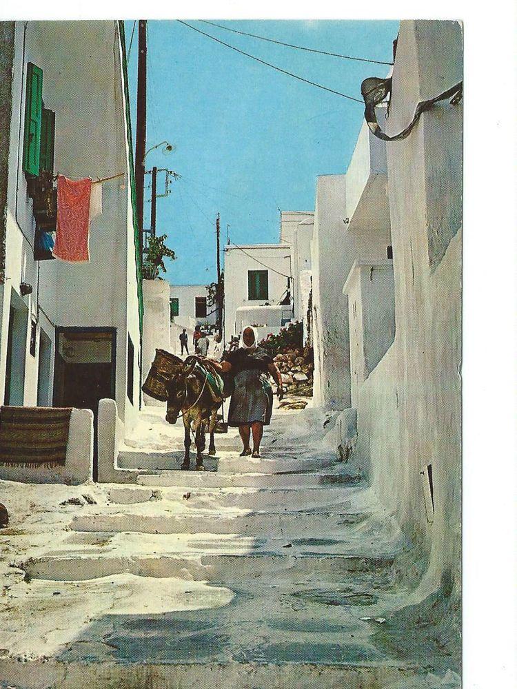 Mykonos - Picturesque Street with donkey,  Myconos, Greece, vintage postcard.