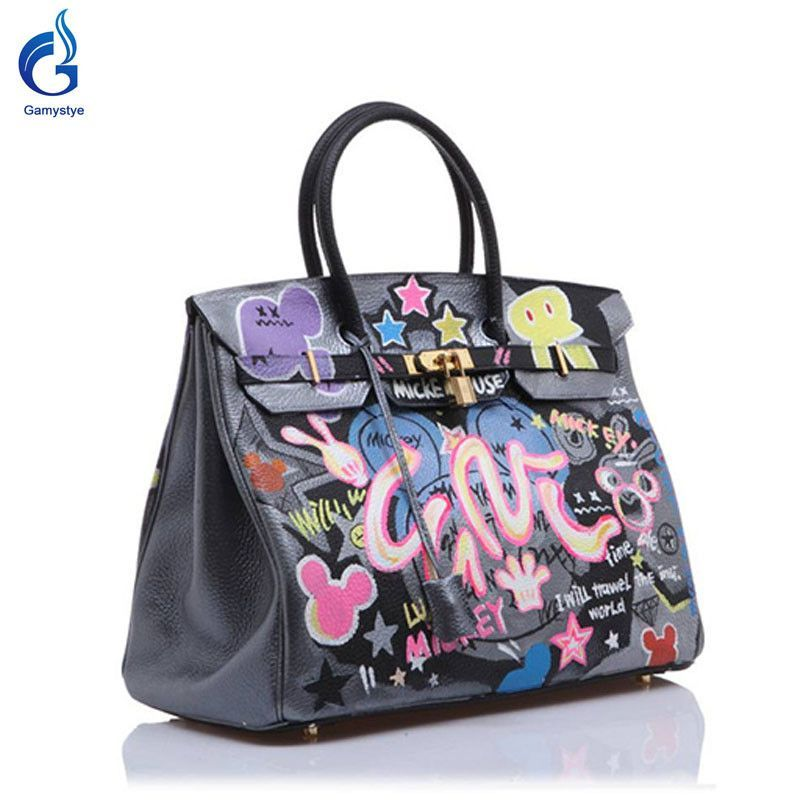 09a28d1b12b2 GAMYSTYE brand Women Real Leather Handbag Graffiti rock Women Messenger Bags  Hand Painted art bags Custom Design painting totes