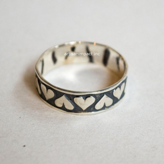 Hearts Band, unique wedding band, best friends ring, promise band, Love ring, hearts band, stacking band, bohemian - Love Is Blindness R2229
