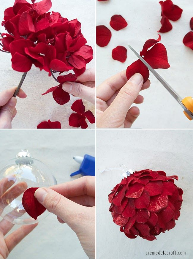 diy holiday ornaments from silk flowers gabonak On fake flowers for crafts