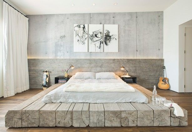 Moderne Schlafzimmer Gestalten Im Industrial Style Mit DIY Bett Aus  Rundhölzern