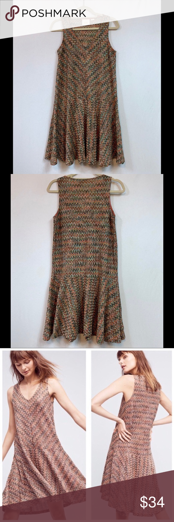 005af7311f62 Anthropologie Maeve Westwater Knit Chevron Dress Anthropologie Maeve  Westwater Knit Chevron Dress • Size Small •