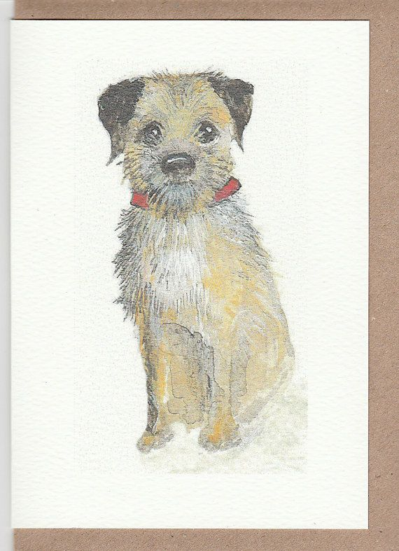 Border Terrier Card Watercolour Painting Of Border Terrier