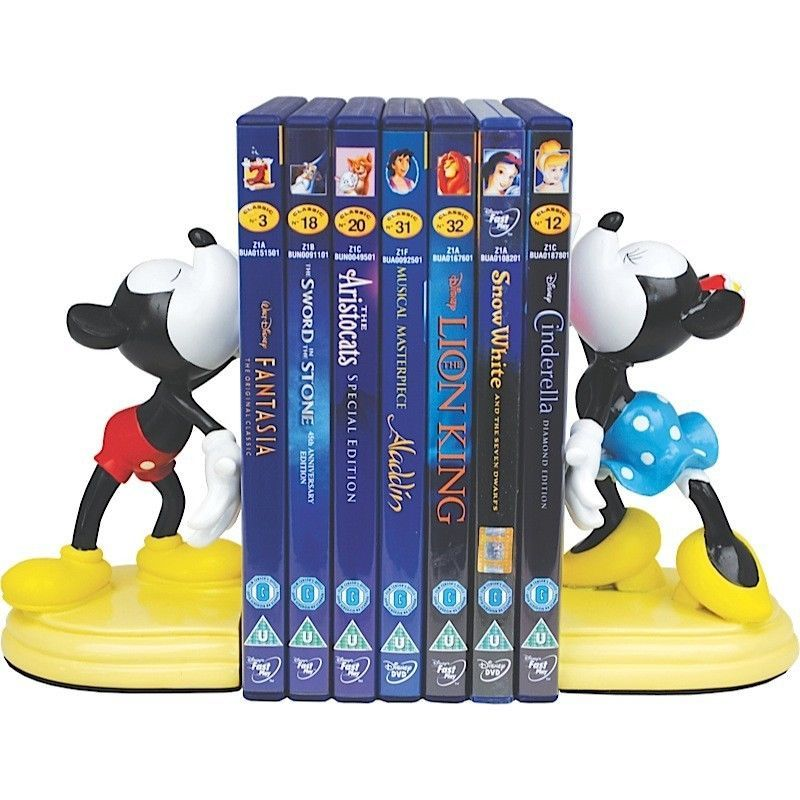 Mickey And Minnie Bookends For Dvd Shelf