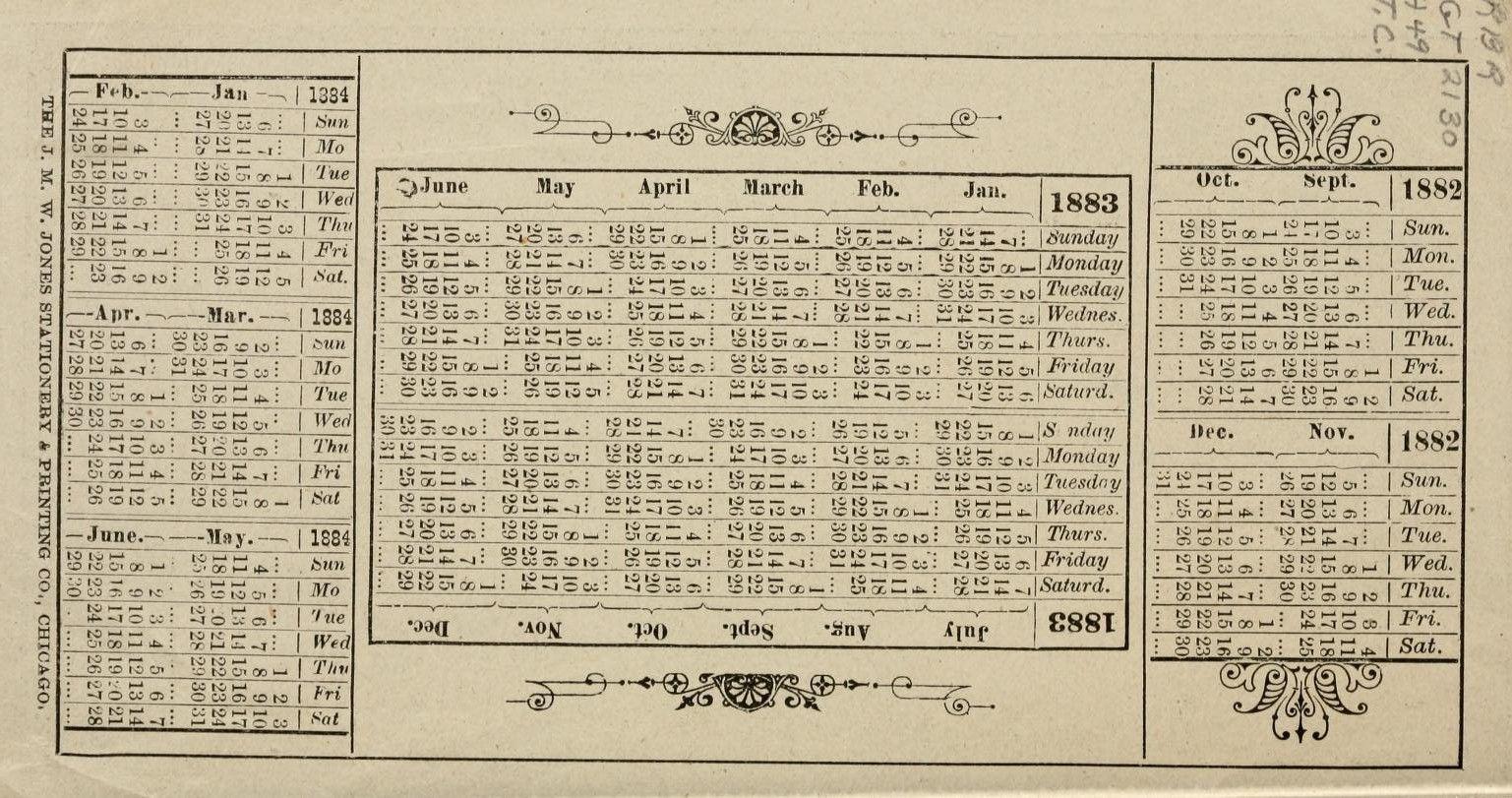 1882-1884 calendar | Antiques | Pinterest