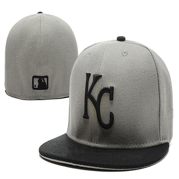 a79975f1e2d Wholesale Cheap Kansas City Royals KC letter Fitted  Hats embroidery  baseball cap flat-brim