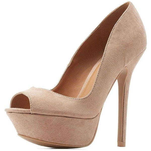 2ef036ff179 Charlotte Russe Taupe Qupid Peep Toe Platform Pumps by Qupid at ...