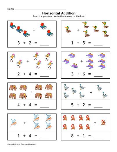 Addition 0 10 Horizontal Set 1 Preschool Math Worksheets Worksheets Free Math For Kids