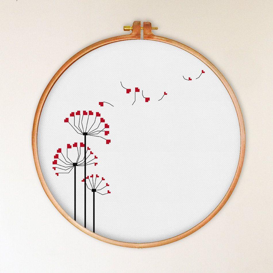 Heart Dandelion cross stitch pattern modern cross by ThuHaDesign