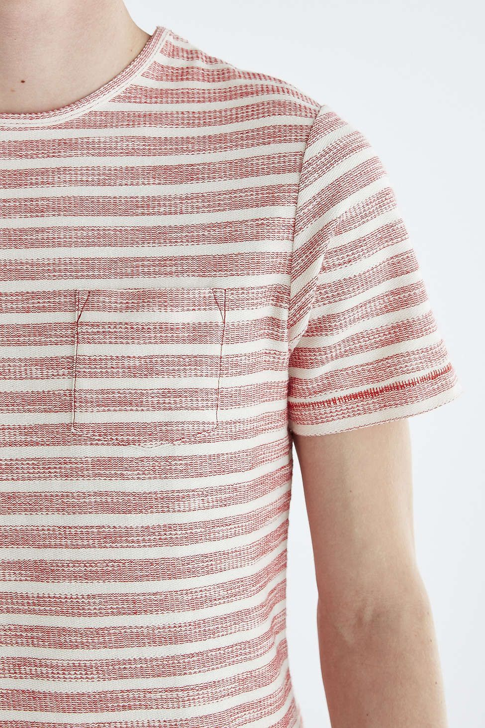 Native Youth Reverse Textured Stripe Crew Neck Tee