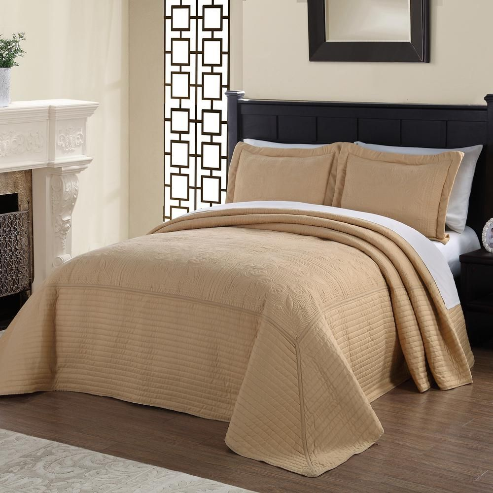 French Tile Quilted Gold Queen Bedspread