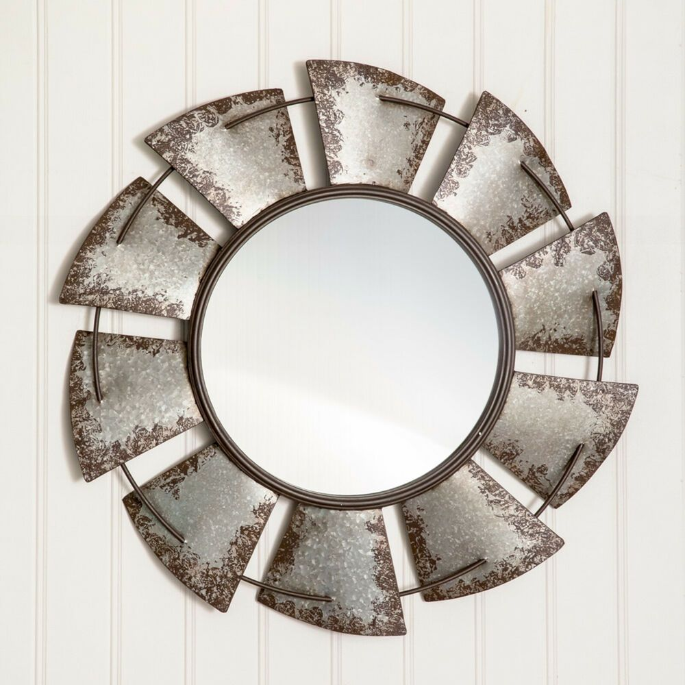 Details About Country Farmhouse Unique Large Windmill Wall Mirror Metal Primitive Decor With Images Farmhouse Wall Decor Windmill Mirror Mirror Wall