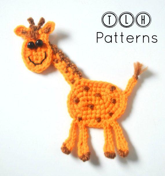 Crochet giraffe applique pattern, crochet pattern, crochet applique ...
