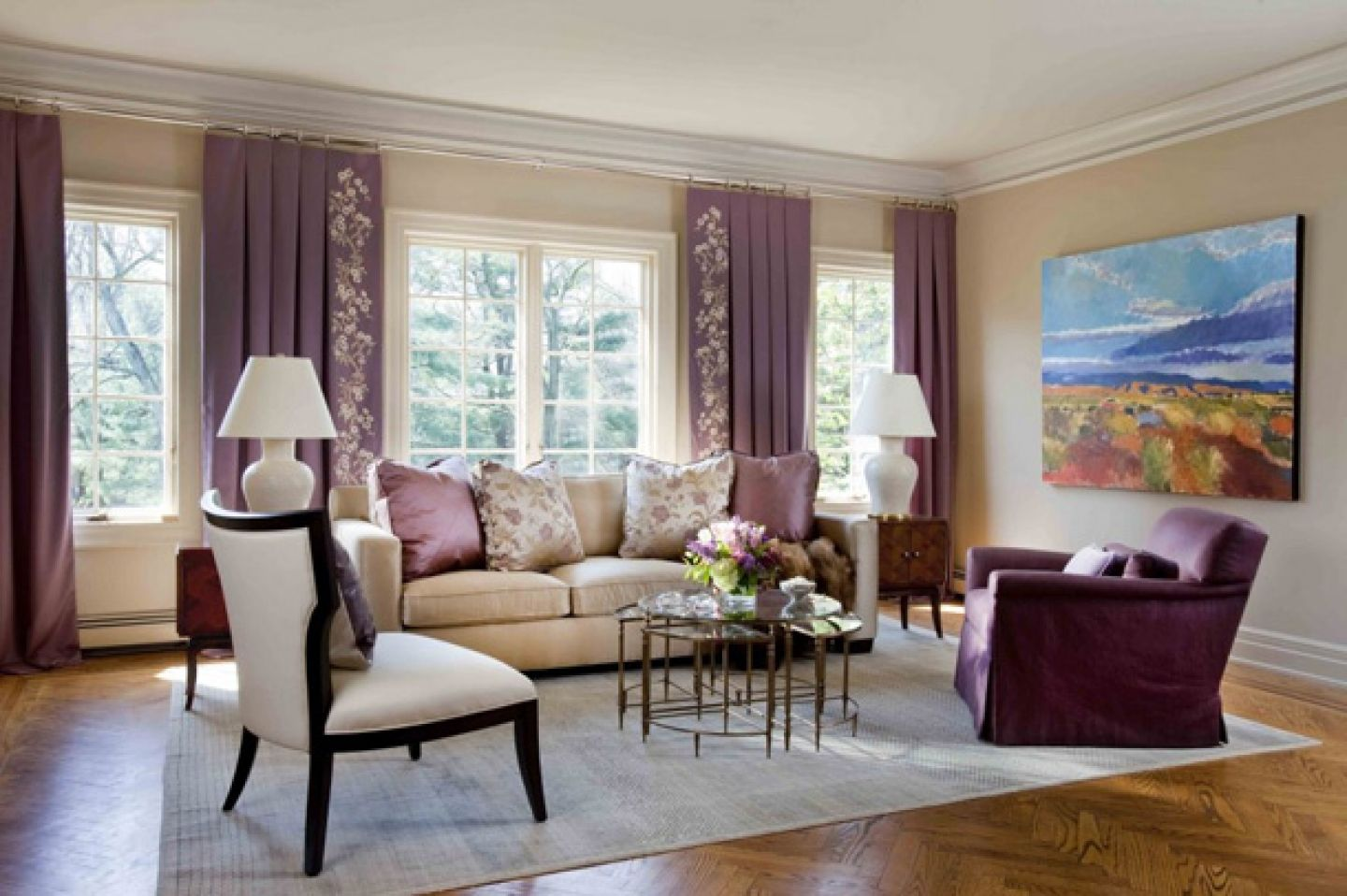 Best Living Room Interior Inspiration Beige Sofa With Purple 400 x 300
