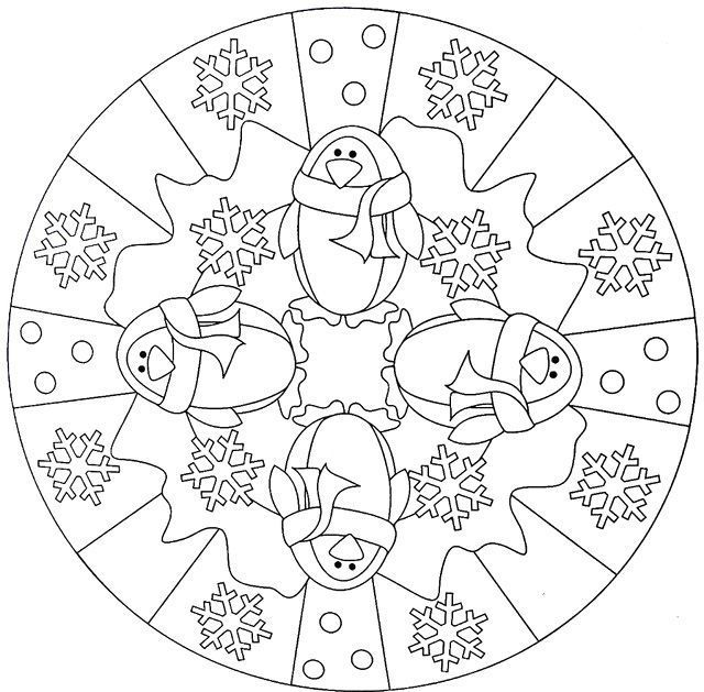 pinguin mandala winter malvorlagen für erwachsene  cool