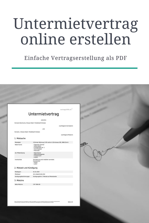 Untermietvertrag Online Erstellen In 2020 Vertrag Online Interaktiv