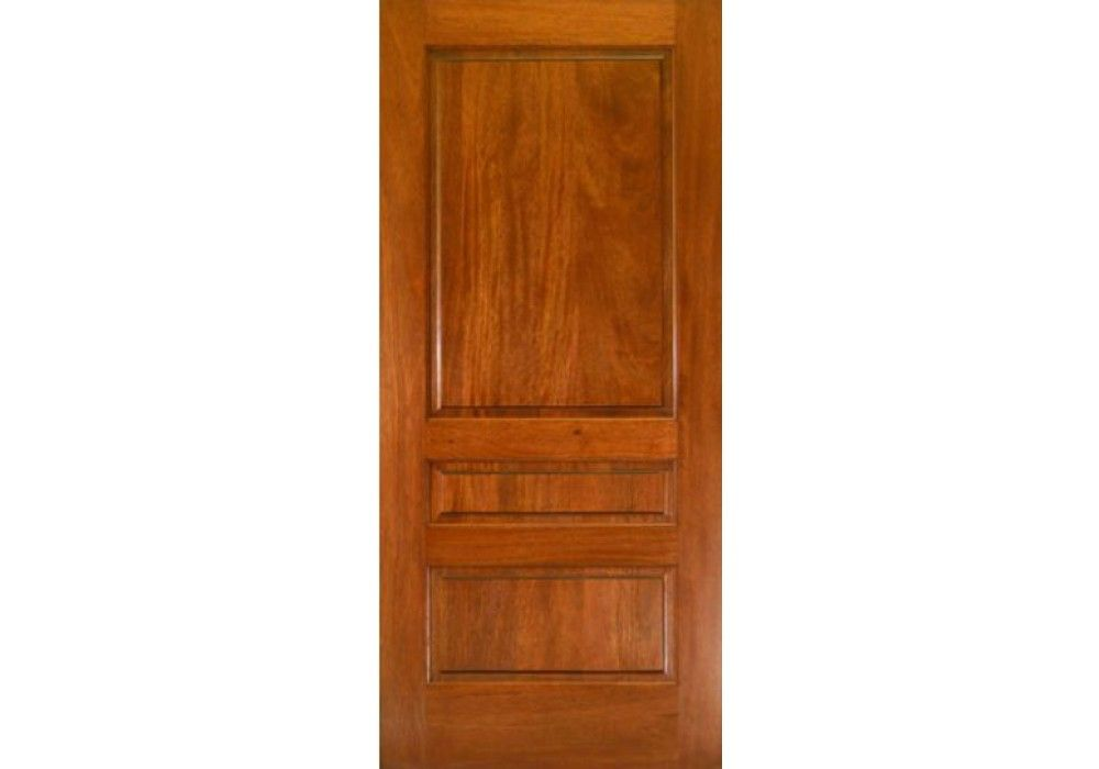 Interior transitional style mahogany 3 panel square top for Mahogany interior doors