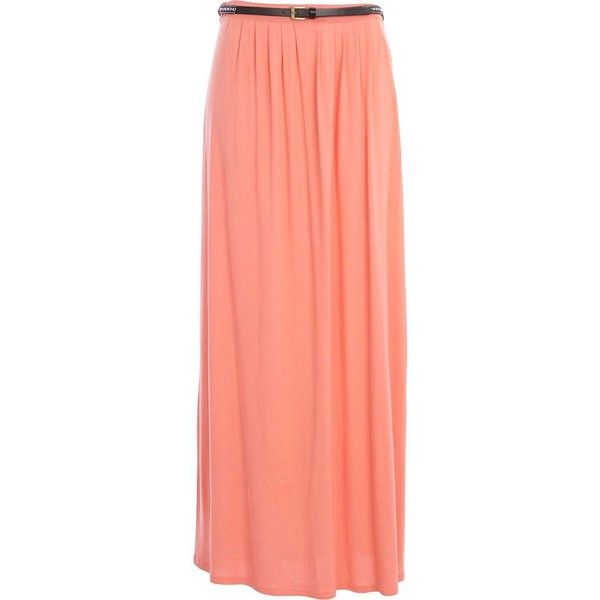 River Island Coral jersey belted maxi skirt ($18) ❤ liked on Polyvore featuring skirts, bottoms, sale, jersey knit skirt, red maxi skirt, maxi skirt, jersey skirt i jersey knit maxi skirt
