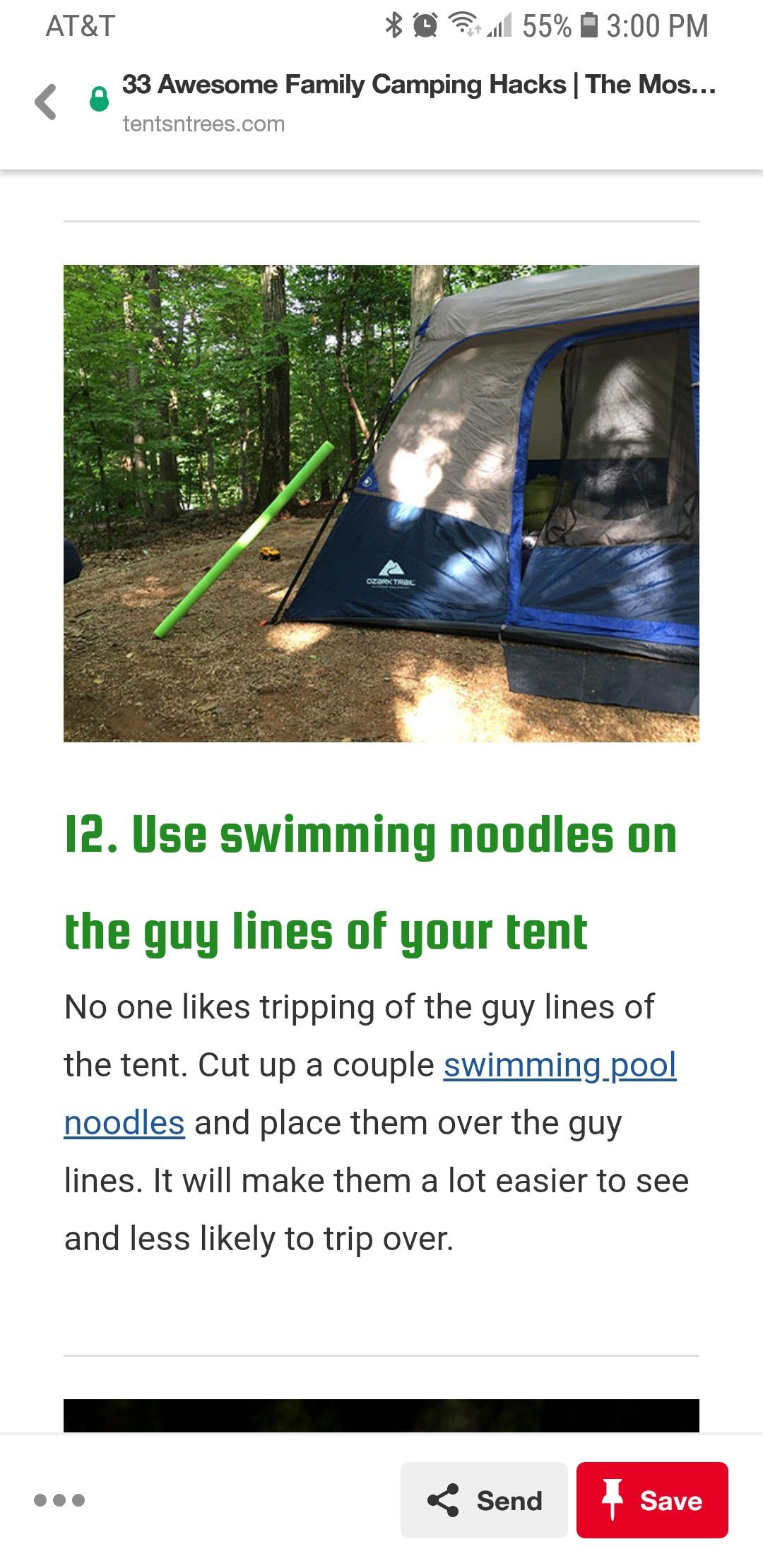 Pool noodles for tent lines | Camping life, Tent, Family ...