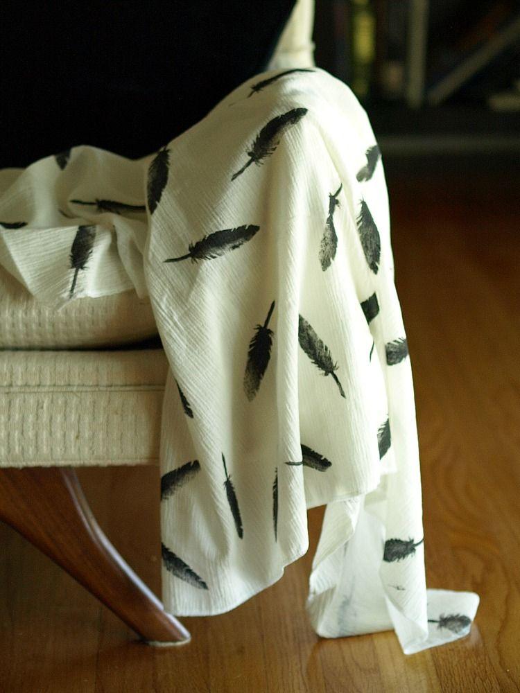 DIY potato stamp swaddle blanket.