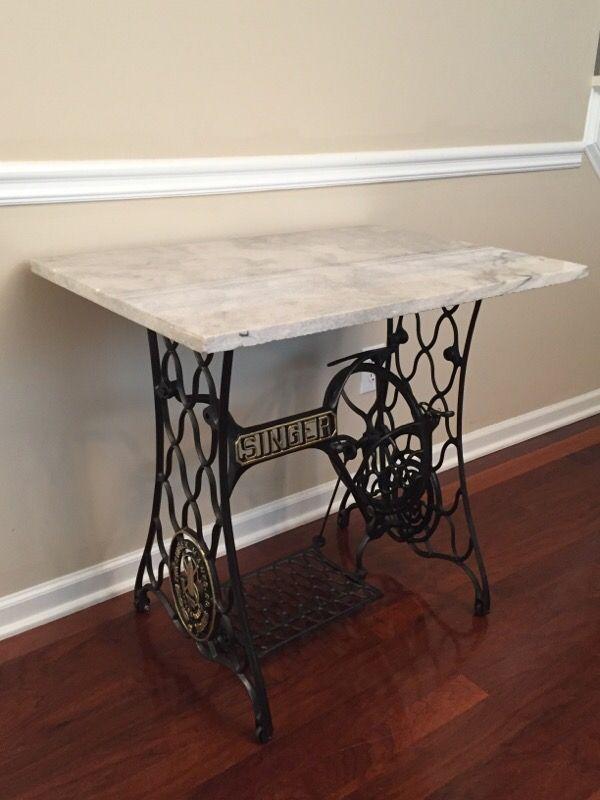Vintage Modern Entry Table W Marble Singer Base For Sale In