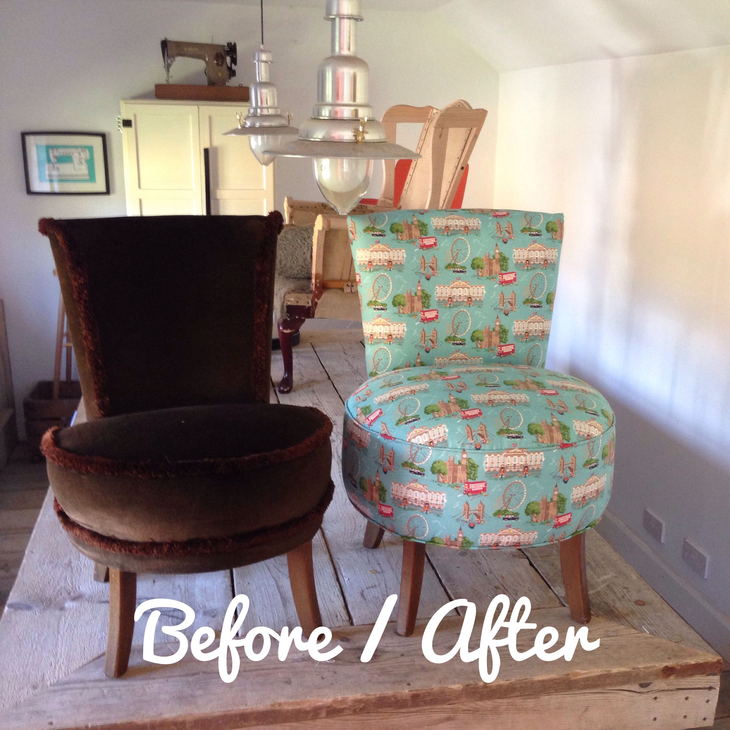 Before / After Vintage Nursery Chair  Watch me upholster this on my You Tube Channel