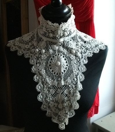 Antique Lace Dolls Collars Old Lace Crochet Collars Dolls Costume Irish Crochet Period Costume Handmade Lace