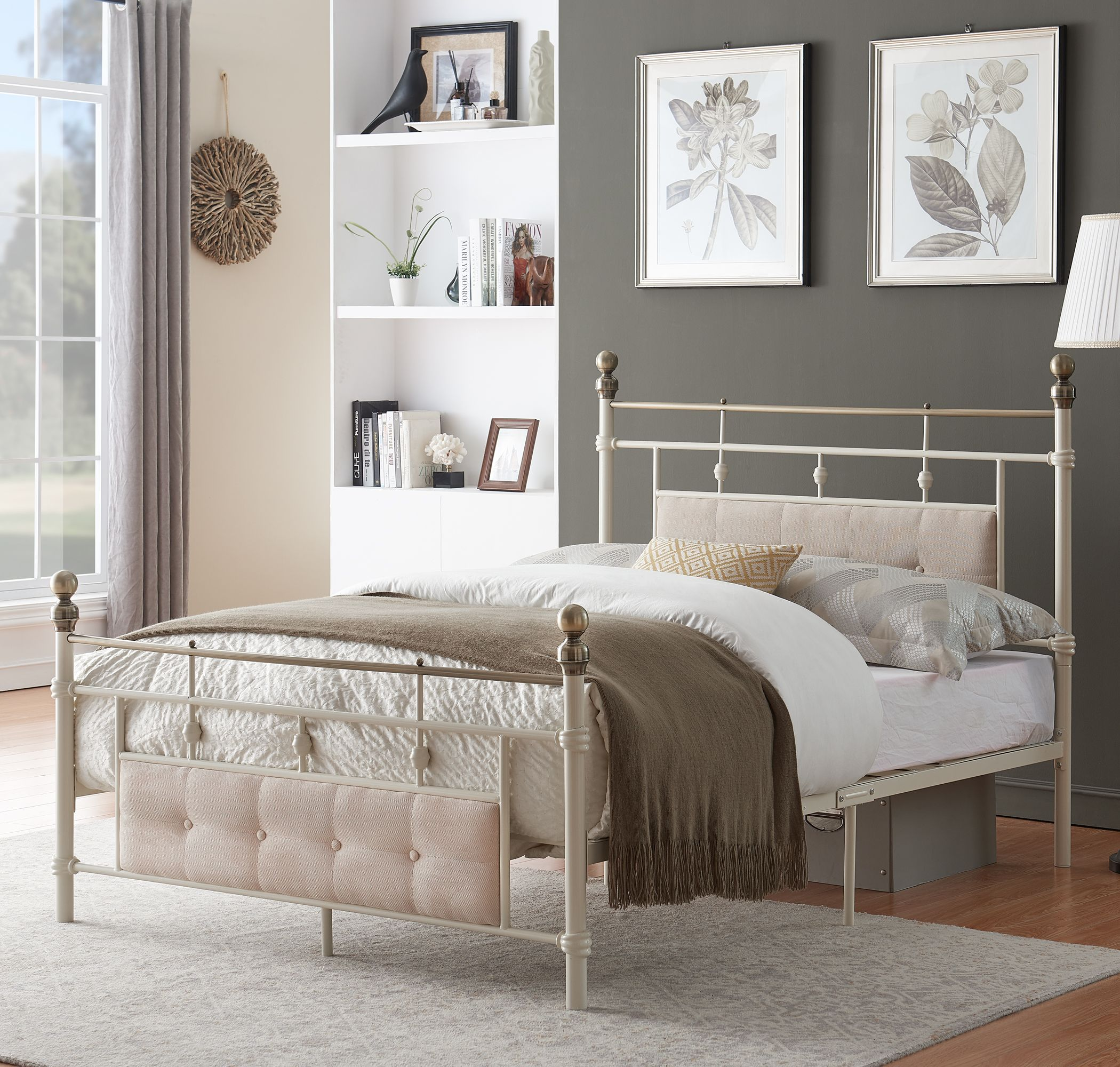 The chic and pleasing smooth finish of this metal bed