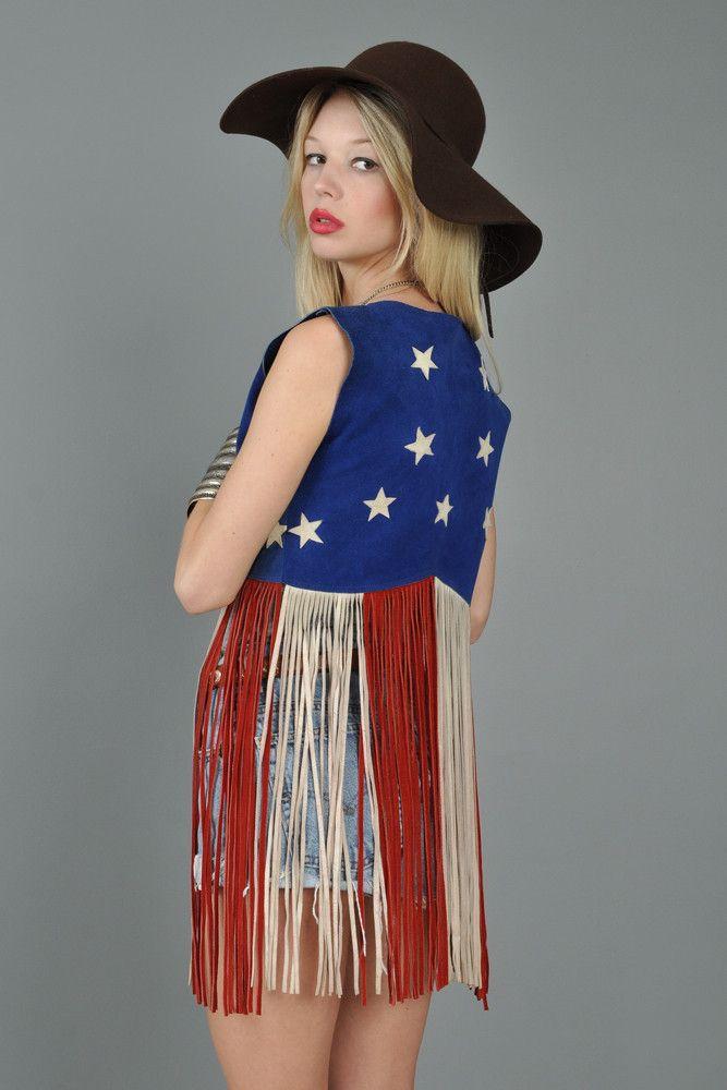 American Flag Suede 1970s Suede Fringed Vest Fringe Vest Suede Fringe Vest 60s Fashion
