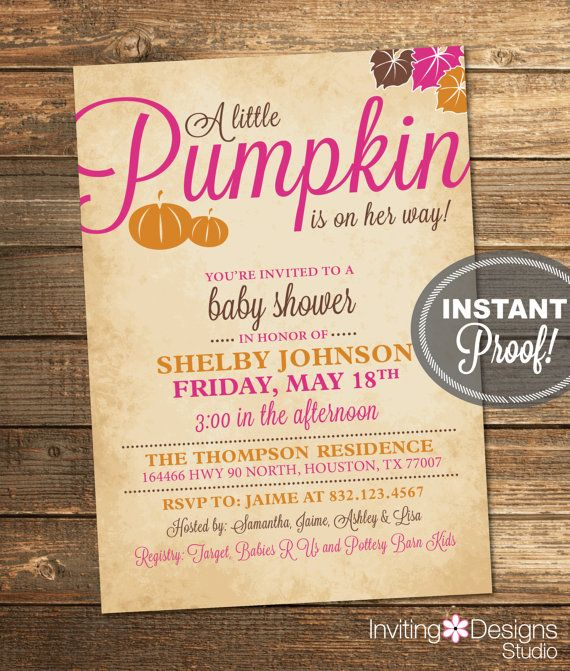 pumpkin baby shower invitation fall baby girl autumn leaves pink