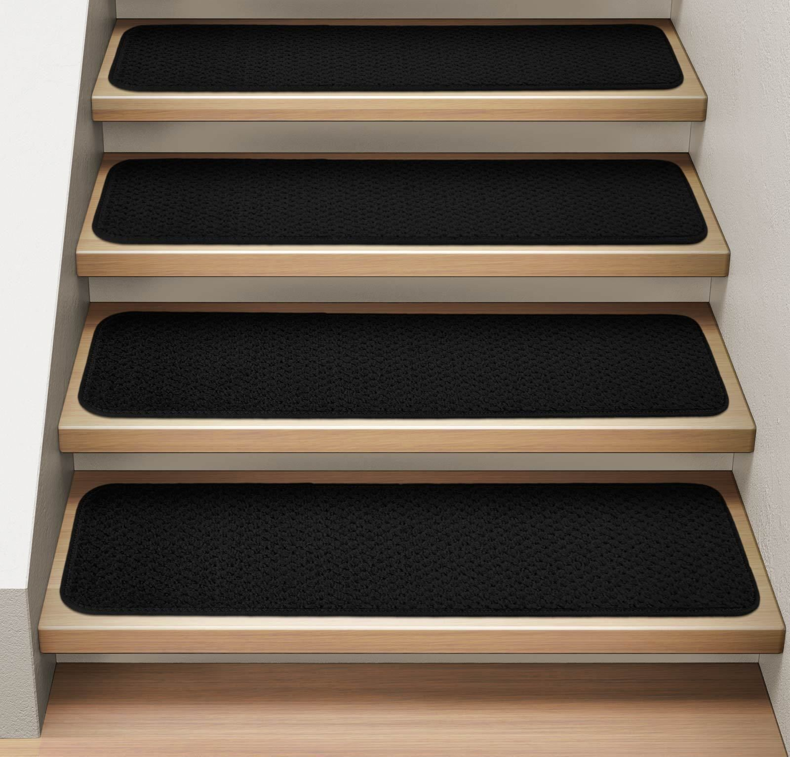Set Of 12 Attachable Carpet Stair Treads Black Indoor Carpet Carpet Stair Treads Black Runner Rug
