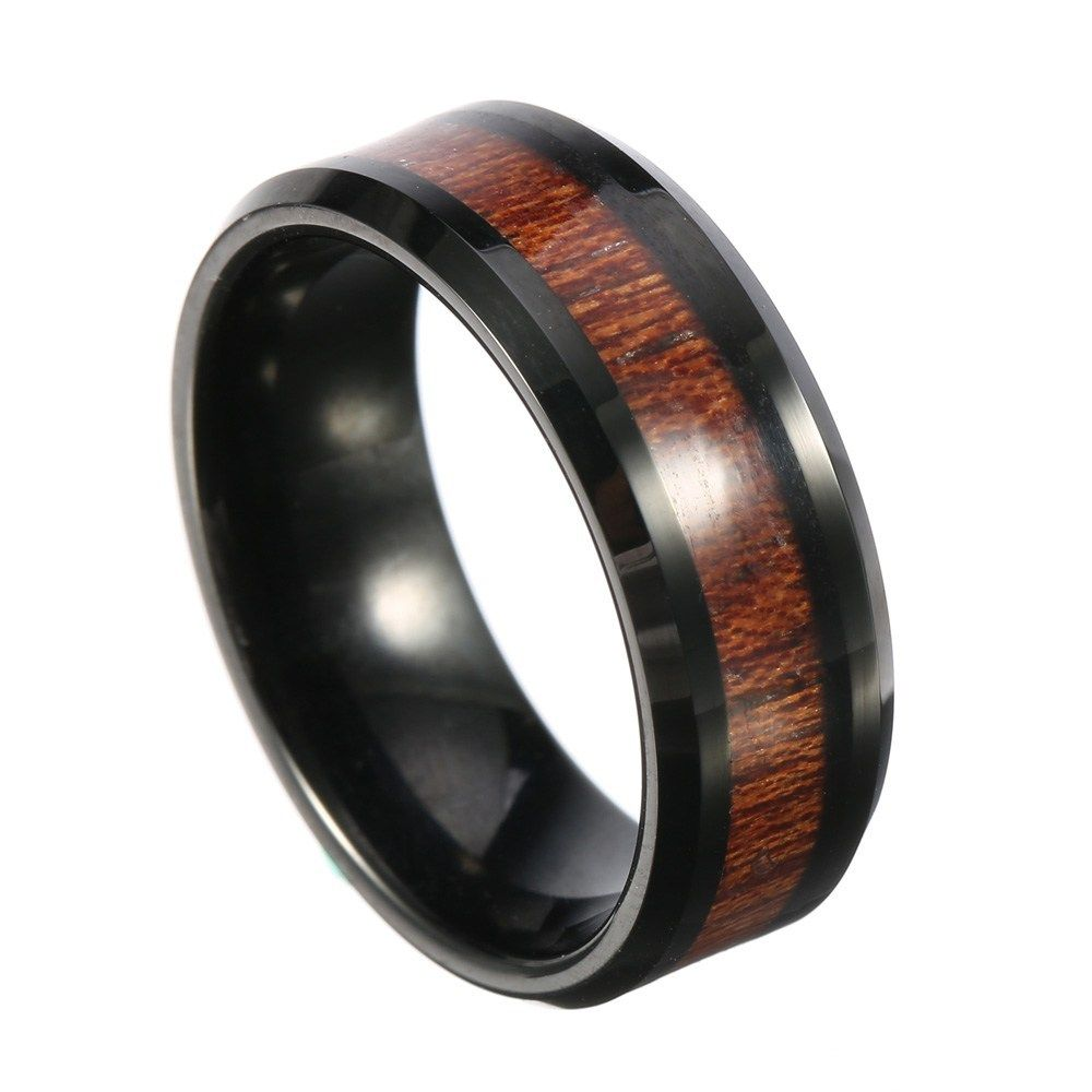 8mm Classic Mens Wood Tungsten Ring Tungsten Carbide Color