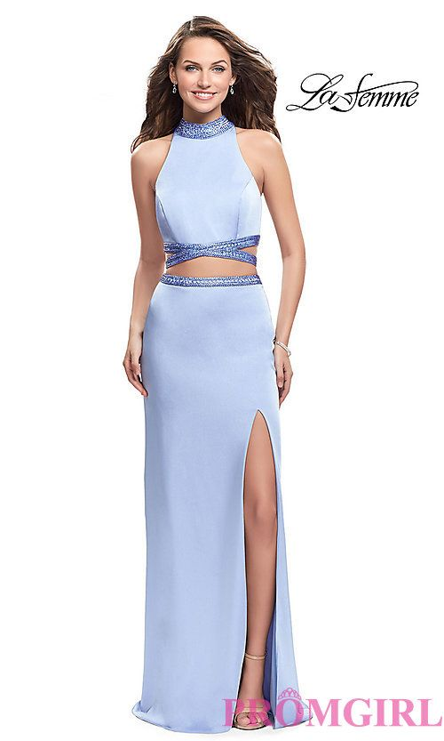 Long Two-Piece La Femme Prom Dress with Illusion Cut Outs ...